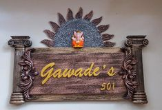 Wooden Name Plates, Door Name Plates, Name Plates For Home, Name Plate Design, School Door Decorations, Painting Burlap, Mural Art, Murals, Handmade Envelopes