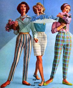 "1950's Fashion. ♥I have ""slacks"" similiar to the striped ones, mine were predominatley orange."