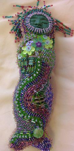 Green and Purple Beaded Mermaid Art Doll Goddess. $180.00, via Etsy.