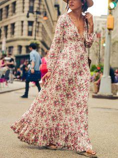 V-neck Floral-Print Bohemia Maxi Dress