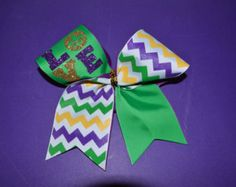 Love Mardi Gras Cheer Bow by RockthatBeaux on Etsy