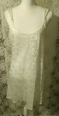 Halston chamise night gown extra large white sheer floral print nwot #Halston #Gowns #Everyday