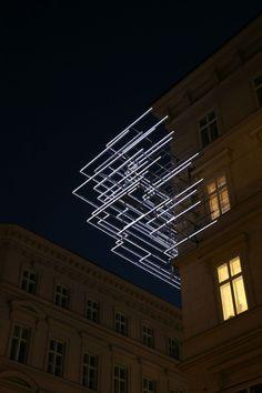 Kommunalkredit, Vienna, Light art installation by Brigitte Kowanz. Light Art Installation, Art Installations, Land Art, Instalation Art, Light And Space, Art Moderne, Art Plastique, Lighting Design, Facade Lighting