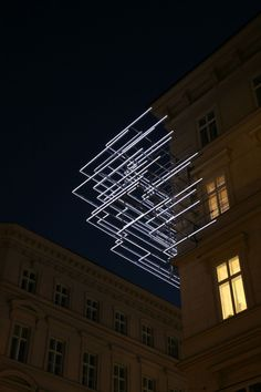 Kommunalkredit, Vienna, Light art installation by Brigitte Kowanz. Light Art Installation, Art Installations, Land Art, Instalation Art, Light And Space, Neon, Art Moderne, Art Plastique, Lighting Design