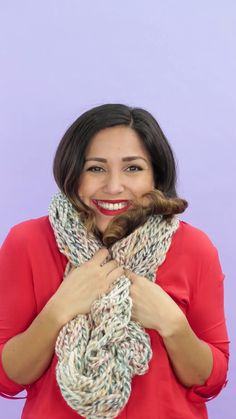 Use your arms to knit a cozy circle scarf in under 30 minutes.