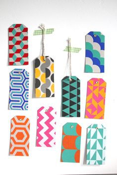 Gift or price tags with bold and colorful patterns