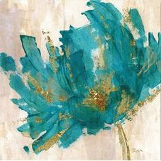 Contemporary Teal Flower I Canvas Print