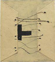 "Antoni Tàpies's ""Matèria entrellaçada"" (2004), which uses marble dust as a material."