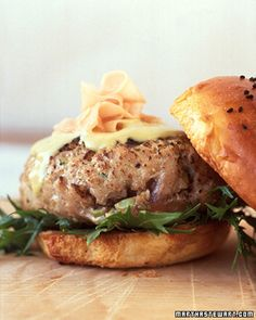 Tuna Burger: Mix chopped fresh tuna with minced anchovy, garlic, and toasted sesame oil. Topped with mizuna, pickled ginger, and wasbi