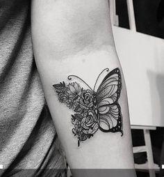 Flower butterfly t… Flower butterfly tattoo Butterfly Thigh Tattoo, Butterfly With Flowers Tattoo, Butterfly Tattoo Cover Up, Butterfly Tattoos For Women, Butterfly Tattoo Designs, Butterflies, Hand Tattoos, Rose Tattoos, Flower Tattoos