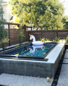 Love how crisp and clean the lines feel with concrete and steel! Can you picture this in your backyard? Pools For Small Yards, Natural Swimming Pools, Small Backyard Pools, Swimming Pools Backyard, Swimming Pool Designs, Lap Pools, Natural Pools, Indoor Pools, Pool Landscaping