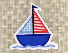 Segelboot applikation  Aufnäher Segelboot ♥ Applikation Boot ♥ maritim | Segelboot ...