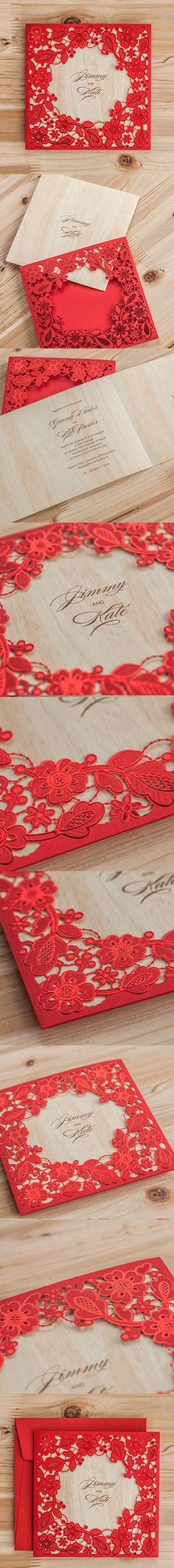 Wishmade 1x Red Laser Cut Square Wedding Invitations Kits with Embossed Hollow Favors Bridal Shower Engagement Birthday Greeting Cards CW5280