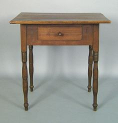 "Southern Sheraton walnut work table, ca. 1830, the rectangular top over a frame with single drawer supported by turned legs, 29 3/4"" h., 29 3/4"" w"