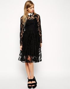 ASOS Lace Applique Midi Dress with Collar