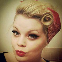 vintage hair, false lashes and makeup.