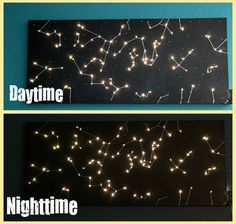 DIY Canvas Constellation Night Light - this, on one whole wall of the nursery