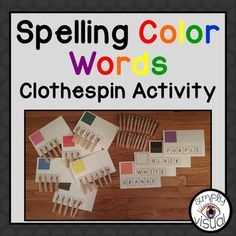 """Clothespin activity to teach your students to spell color words while using fine motor skills.Make 10 task cards:red, orange, yellow, green, blue, purple, pink, brown, black, whiteCustomer TipsGet credit for future purchasesGo to """"My Purchases"""" page Click on the """"Provide Feedback"""" buttonProvide a rating and comment for the productYour feedback is greatly appreciated!Become a followerClick the star next to my logo at top of pageYou will be notified of my new products, discounts, and freebies"""