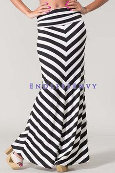083ea29300b5 Black & White Stripe Chevron Zigzag Maxi Skirt Striped #Chevron #Zigzag  #Fashion
