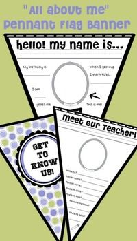 "An ""All about me"" type of class activity. Great for the students to get to know each other as well as their new teacher.  Works as a back to school activity that can remain on display through the end of the year.  Flag 1: ""Get to know us!"" (polka-dots)  Flag 2: ""We are grade..."" (polka-dots)  Flag 3: ""Our teacher is..."" (polka-dots)  Flag 4: ""Meet our teacher"" Flag 5: ""Hello!"