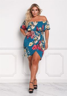 Plus Size Clothing | Plus Size Floral Layered Surplice Slit Bodycon Dress | Debshops