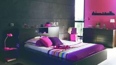 Chambre ado fille noir rose