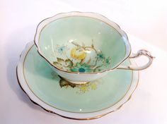 Gorgeous Paragon Fine Bone China England Cup & Saucer HM the Queen HM Queen Mary in mint green. by JoyJoeTreasures on Etsy https://www.etsy.com/listing/212534282/gorgeous-paragon-fine-bone-china-england