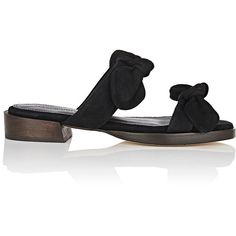 Mari Giudicelli Women's Betis Suede Slide Sandals ($535) ❤ liked on Polyvore featuring shoes, sandals, black, black suede shoes, black low heel sandals, black slip on shoes, black bow sandals and black slide sandals