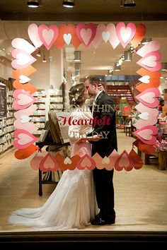 From pinner- While taking our wedding portraits in Georgetown, DC, I saw a gorgeous window display at the Paper Source store. Seeing as I used Paper Source for all of my DIY needs while planning my wedding, I rushed inside, and our photographers captured [these] images.