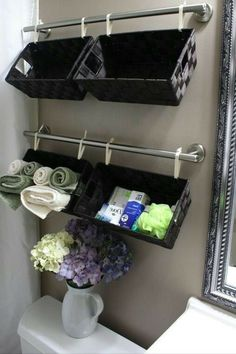 Little baskets for storage in a smaller bathroom