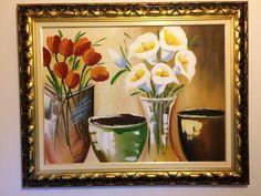 Os vasos Painting, Art, Black Molding, Oil On Canvas, Moldings, Vases, Fabrics, Flowers, Art Background