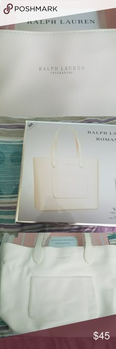 RALPH LAUREN FRAGRANCES TOTE. **BRAND NEW** RALPH LAUREN FRAGRANCES TOTE. - NEVER BEEN USED.  - NON SMOKING HOME.  - STUNNING TOTE BAG.  - SNAP TOP. - INSIDE ZIPPER POUCH. - FRONT OUTSIDE POCKET. - ORIGINAL PACKAGING. - 4 SILVER *COASTERS* ON THE BOTTOM TO AVOID DIRT / WATER DAMAGE. - NO TRADES. RALPH LAUREN FRAGRANCES  Bags Totes