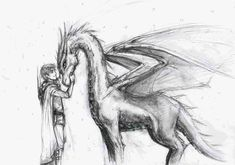 Eragon and Saphira by lorellashray.deviantart.com on @deviantART Character Sketch / Drawing Illustration Inspiration