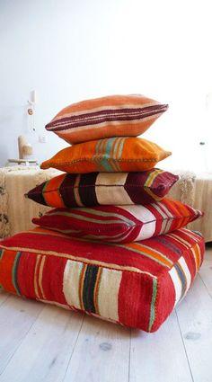 Image above: Moroccan Kilim poufs $156+ each http://www.designsponge.com/2014/02/10-cute-poufs.html