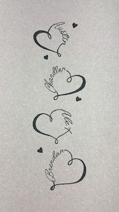 My four boys names tattooed down my spine. date tattoos, boy tattoos, heart Kid Tattoos For Moms, Tattoos For Baby Boy, Baby Name Tattoos, Mommy Tattoos, Mother Tattoos, Family Tattoos, Tattoos For Daughters, Son Tattoos, Tattoo Kind
