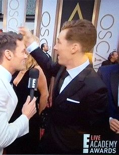 Still working on the love heart at the Oscars. Ohmigosh, he is precious.