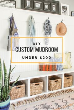 diy custom mudroom under $200 tutorial. built in bench and beadboard wall with hooks