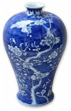 Blue and White Cherry Blossom Vase - Asian - Vases - by Belle and June