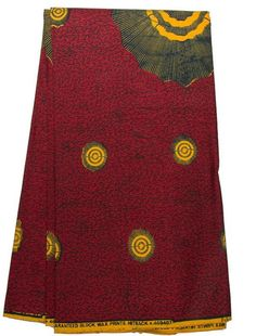 2 Yards Yellow Sun on Wine Red African Fabric Ankara Real Wax Textile Prints by Diutobaby on Etsy