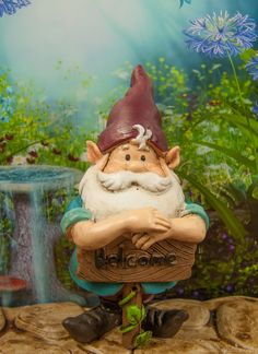 Mini Welcome Gnome to welcome gnomes and fairies into your gardens.