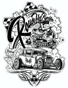 """Rodders Inc."" - AUS on Behance - Cars and motorcycles - Gaz Monkey, Rockabilly Art, Harley Davidson Art, Cars Coloring Pages, Garage Art, Oldschool, Lowbrow Art, Car Drawings, Pinstriping"
