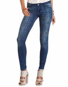 tribal patterned skinny jean