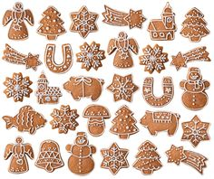Collection Christmas Gingerbread Cookies Isolated On Stock Photo (Edit Now) 348323198 Cute Christmas Cookies, Grinch Christmas, Xmas Cookies, Christmas Sweets, Christmas Gingerbread, Christmas Baking, Gingerbread Cookies, Christmas Decorations, Italian Christmas