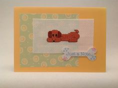 Hand made sausage dog cross stitch card by PosieAndMarmalades, £2.50