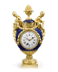 A LOUIS XVI ORMOLU-MOUNTED BLUE SÈVRES PORCELAIN MANTEL CLOCK, THE MOUNTS IN THE MANNER OF ÉTIENNE MAURICE FALCONET circa 1775, the movement signed Martin A Paris