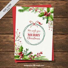 Weihnachtskarte mit Aquarell Mistel Dekoration Kostenlose Vektoren