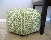 "18"" Ottoman Pouf Floor Pillow Waverly Parterre Grass"