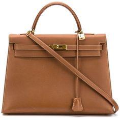 Hermès Vintage 'Kelly' bag 35cm (€13.295) ❤ liked on Polyvore featuring bags, handbags, brown, vintage handbags, vintage leather purse, hermes purse, vintage purse and shoulder strap purses