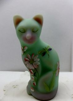 Glass Cat Kitty Figurine Fenton Hand Painted Artist Signed Dragonfly Flowers