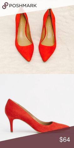 """Ann Taylor Suede Fire Glow Orange Heels A pointy toe adds undeniable sophistication to these covetable heels - a noteworthy arrival in sumptuous suede. Pointy toe. Padded footbed for complete comfort. Covered 2 1/2"""" heel. Brand new; never been worn. Ann Taylor Shoes Heels"""